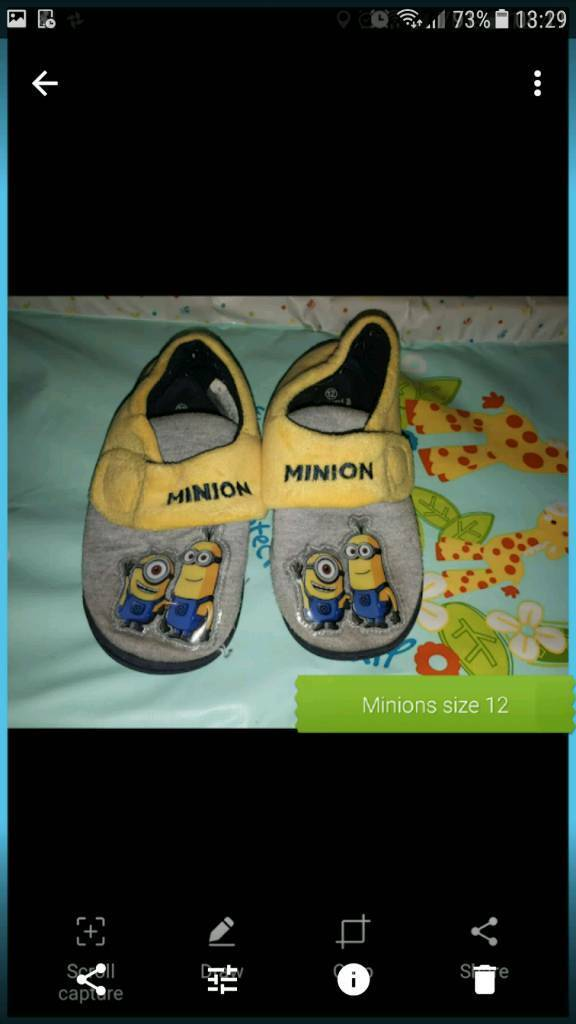 Minions slippers size 12