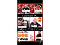 Charity football match cash for kids 500 faces