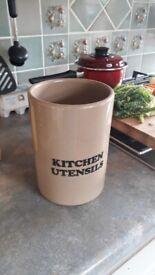 Vintage stoneware kitchen utensil canister