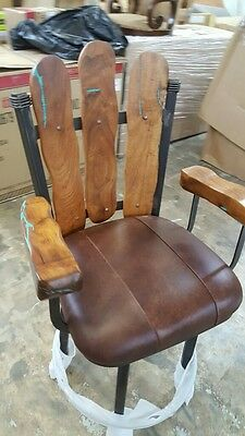 Southwest Wrought Iron Arm Barstool Mesquite Wood Turquoise Rustic set of 2