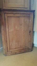 Pine vintage arts and crafts corner cupboard