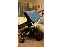 bugaboo cam 3 with carrycot seat unit petrol hood and apron