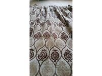 Two pairs of matching curtains, and 6 matching cushion covers for sale
