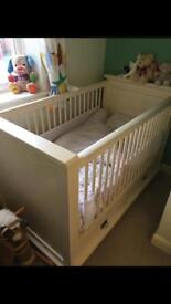 Kidsmill shaker cot bed which becomes a daybed too.