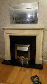 Cream fireplace, granite hearth with electric fire