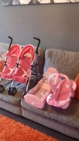 Silvercross twin dolls pushchair .baby annabel cot and babyborn car seat for sale al ex condition