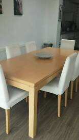 Oak Wood Laminate dining table & 6 chairs