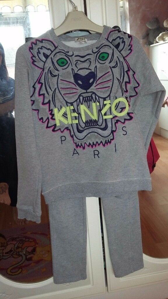 Grey kenzo tracksuit age 9/10 slim fitting trousers