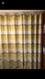2 Pairs Dunelm Green Striped Lined Curtains