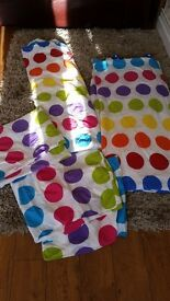 Matching spotted kids double and single duvet covers with pillowcases