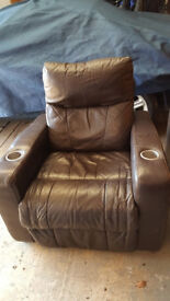 Leather reclining arm chairs