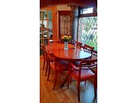 Dining Table and 8 chairs (Oval extending yew wood)