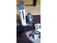 x box 360 with kinect 1 controller 60 GB removable drive and games