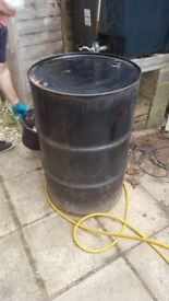 Approx 45 gallons of home heating oil in drum.