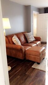 Peyton 3 seater leather sofa + chair + pouffee
