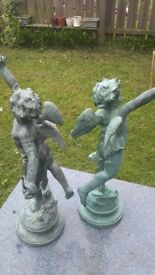 Brass Cupid Statue with Bow