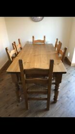 Farm house solid wood dining table and 6 chairs