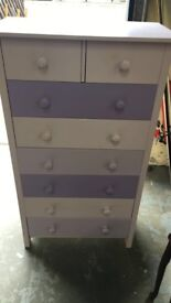 Painted Wood Chest Of Drawers In good Used Condition