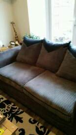 Grey cord 2 seater sofa