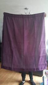 Curtains. Plum coloured. Lined.