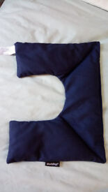Shoulder Neck shaped Wheaty Bag for cooling or heating, navy blue