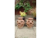 Pair Terracotta strawberry planters