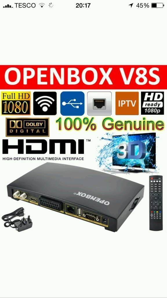 OPENBOX V8s, SKY SATELLITE BOX WITH 12 MNTHS GIFTin Royton, ManchesterGumtree - Cheapest available on gumtree and you wont be disappointed. Been selling for over 4 yearsLatest Openbox V8s With Full 12 Months Gift, unbelievable glitch free wont be disappointed.12 month gift renewals are also available for renewal just get in...