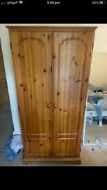 Quality Pinewood Wardrobe With Hanging Rail And Bottom Shelf Good Condition Delivery Possible