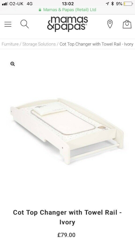 Mamas and Papas Cot Top Changer - Ivory - Brand New