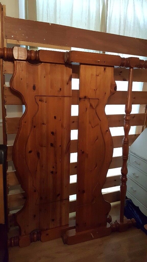 Chunky pine double bed frame