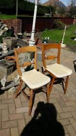 2 pine kitchen chairs with cushions