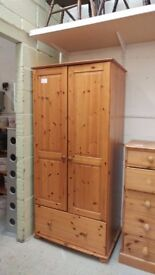 2 Door Pine Wardrobe for Sale at Cambridge Re-use (reuse)