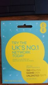 NEW unopened EE payg sim card (150 mins, 500 mb, unlimited texts) £10 p/month