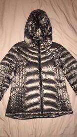 Women's Andrew Marc metallic packable lightweight premium down jacket size M