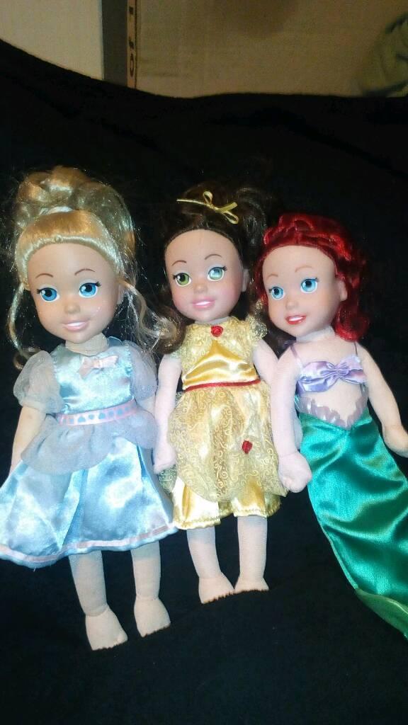 Disney princess dolls cinderella, belle, ariel