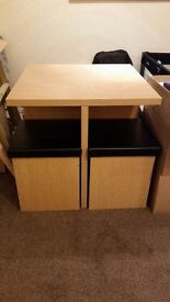 Dining Table with 4 storage seats £80ono