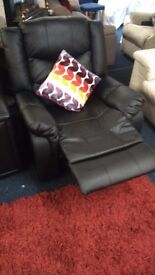 Leather*pull button recliner chair*BLACK*
