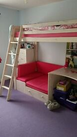 pink/white wash bunk bed