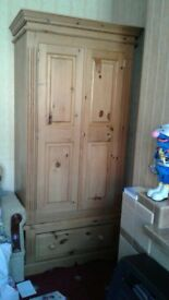 solid pine single wardrobe with drawers and lock furniture farmhouse style