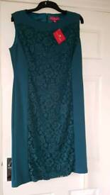 Teal green lace panel lined dress brand new with tag size 14