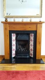 Cast iron gas fire, surround and hearth