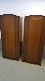 Vintage Retro Matching Pair of 2 C.W.S. Ltd cabinet factory Wardrobes