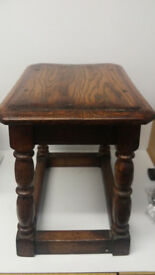 Antique Solid Oak Stool (or small table) with Pegged Joints Size 47cm L x 34cm W x 43cm H Very Old