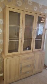 Oak Effect Display Cabinet with lighting.
