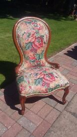 ATTRACTIVE YEW FRAME AND FABRIC CHAIR.