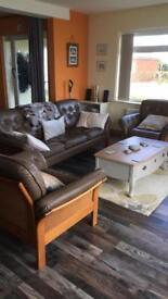 Leather Sofa and 2 chairs. Retro. Swedish