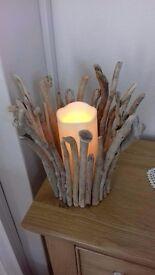 Handmade driftwood candle holder