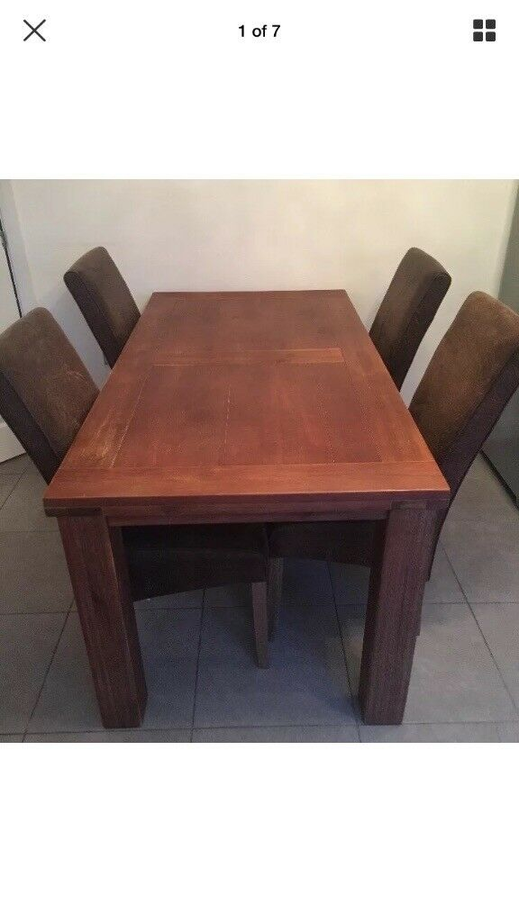 Oak Dining Table Rectangular With 6 High Back Chairs DFS