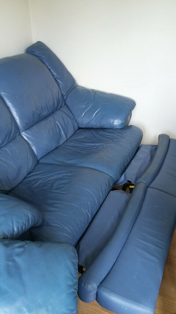SingleDouble Blue Leather Recliner Sofasin Eastleigh, HampshireGumtree - Hi there I am selling both the single and double sofas altogether as Ive recently bought a new corner sofa and need them gone ASAP. They come in a nice blue leather although they do come with wear and tear but the price reflects that ( see pictures )...