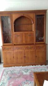 Yew glass cabinet/sideboard